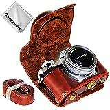 First2savvv Dunkelbraun Premium Qualität Ganzkörper- Präzise Passform PU-Leder Kameratasche Fall Tasche Cover für Olympus OM-D E-M10 Mark III (14-42 EZ Zoom Lens) - XJD-EM10 III-10G11