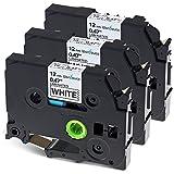 3x Wonfoucs Schriftband/Etikettenband TZe-231 TZ-231 kompatibel für Brother P-touch 1000 1010 1080 1280 D400 H100LB H105 uvm - 12mm x 8m, schwarz auf weiß