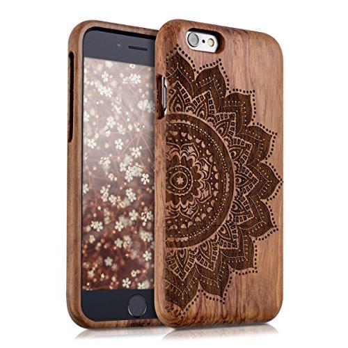kwmobile Estuche de madera natural con Diseño flor mitad para el > Apple iPhone 6 / 6S < en palo de rosa marrón oscuro