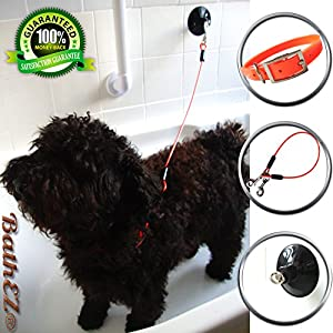 BathEz Dog Durable Bathing Cable Tub Restraint with Top Performance Strong Suction Cup and Collar 9