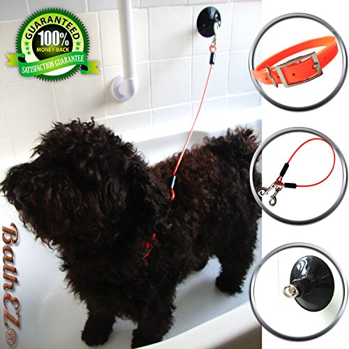 BathEz Dog Durable Bathing Cable Tub Restraint with Top Performance Strong Suction Cup and Collar