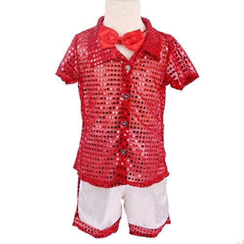 Byjia Kindergarten Kinder Student Kollektiv Moderne Tanz Show Kostüm Jungen Mädchen Wear Kids Bühne Aufführungen Cheerleading Gruppe Match Kleidung (Packung Mit 2) Red (Für Dance Modern Kostüme Jungen)