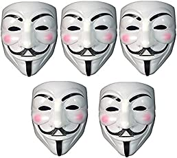 Fancy Steps V for Vendetta Comic Face Mask Anonymous Guy Fawkes, White (Pack of 5)