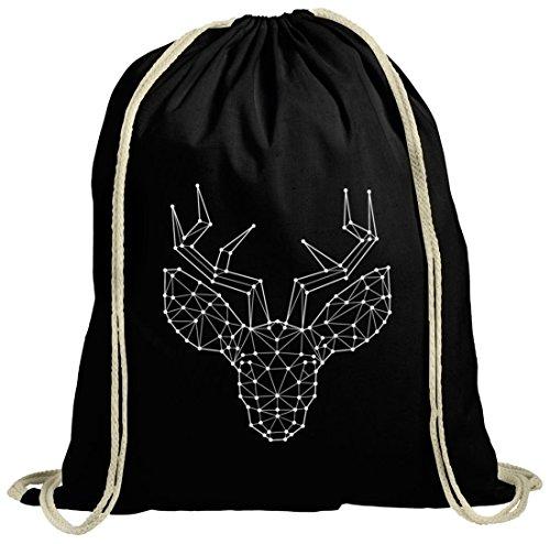Weihnachten natur Turnbeutel mit Polygon Rentier Motiv von ShirtStreet schwarz natur