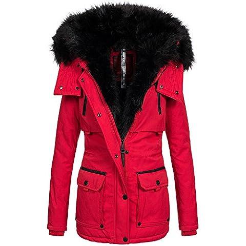 Marikoo warme Damen Winter Jacke Parka Winterjacke Mantel Fell Kragen B393 [B393-Valeria-Rot-Gr.S]