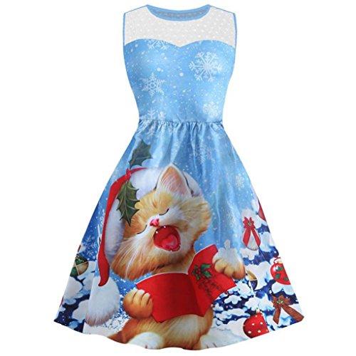 Natale Vestiti, Reasoncool donne di Natale Stampa vestito delle signore lunghe partito Mini,Merletto senza maniche Blu