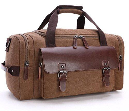 &ZHOU Borsa di tela, Tela in viaggio Borse, spalla Messenger Borsa di bagagli per il tempo libero viaggio bagaglio a mano tela di grande capacità , black coffee color