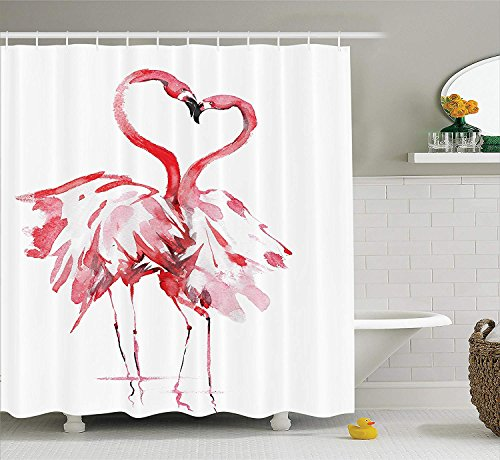 tgyew Flamingo Shower Curtain Animal Decor by, Pink Flamingos Couple Kissing Romance and Passion Theme Partners in Love with Watercolor Effect Bathroom Fabric, 66x72 inches Extra Long, Coral White -
