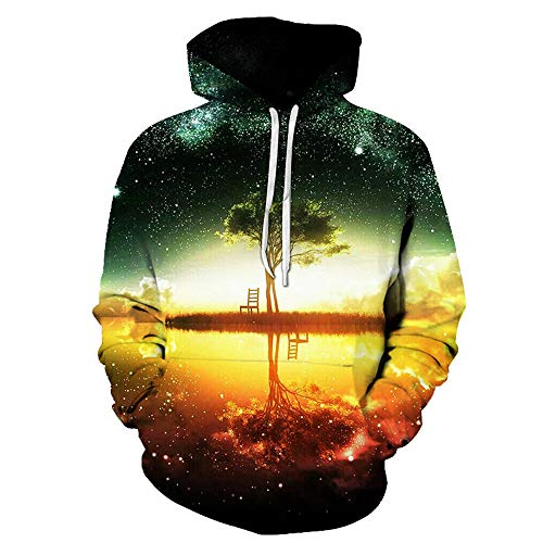 Kanpola Herren 3D Druck Sweatshirt mit Aufdruck Herbst Kapuzenpullover Langarm Shirt Outwear Halloween Pullover(58, Mehrfarbig)