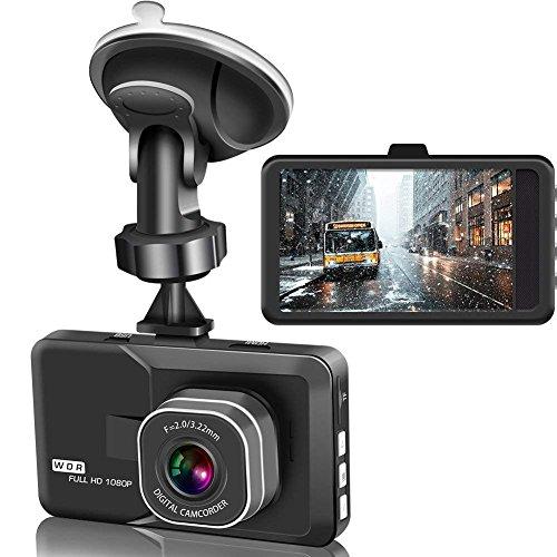 """Dashcam Auto Kamera Video Recorder 3"""" Zoll 1080p Full HD Loop-Aufnahme, WDR, Bewegung serkennung, Park Monitor (Schwarz)"""