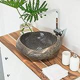 wohnfreuden Naturstein Waschbecken aus Flussstein rund oval 40-50 cm rundum poliert ♥ Steinwaschbecken für Bad Gäste WC ✓ sicher Waschbecken aus Stein Findling Granit ✓