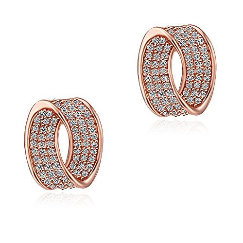 S-type CZ Stud Earrings - 18K White Gold-Plated Cubic Zirconia S-type Stud Earrings For Women.