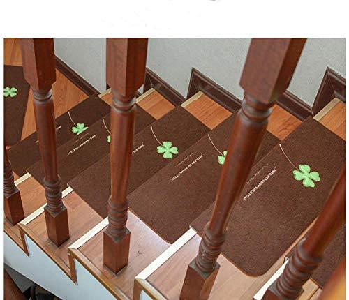 Luminous Stairs Mat Stepping Pad Free Kunststoff selbstklebende Slip Haushalt Holztreppen Treppen Treppen Fußmatten Teppiche {2pcs}, Braun_55cm × 22cm × 4,5cm