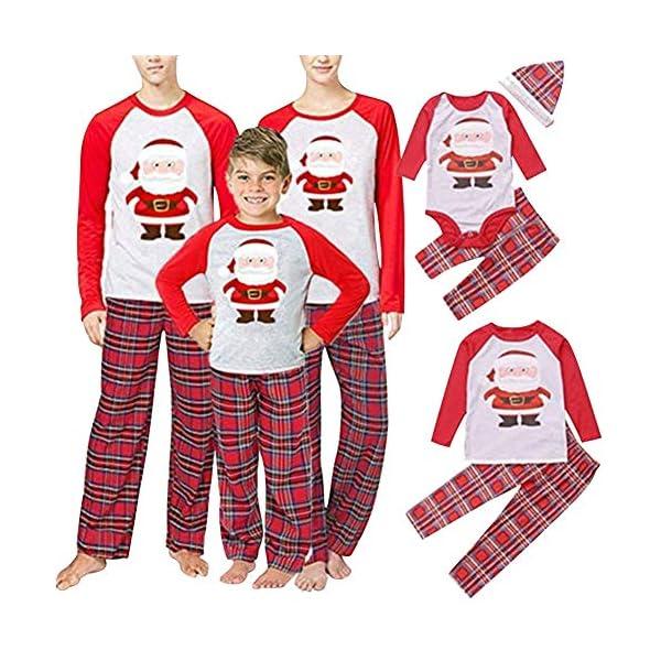 URMOSTIN Pijamas de Navidad Dos Piezas Pijamas Familiares, Conjunto de Ropa de Dormir de Algodón Merry Christmas Manga… 1