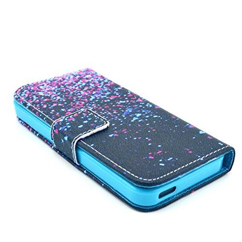 Coque pour Apple iphone SE 5 5S,Housse en cuir pour Apple iphone SE 5 5S,Ecoway Colorful imprimé étui en cuir PU Cuir Flip Magnétique Portefeuille Etui Housse de Protection Coque Étui Case Cover avec  A-8
