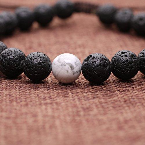 COAI® Geschenkidee EIN Paar Partner Armbänder aus Lavastein und Howlith für Damen und Herren