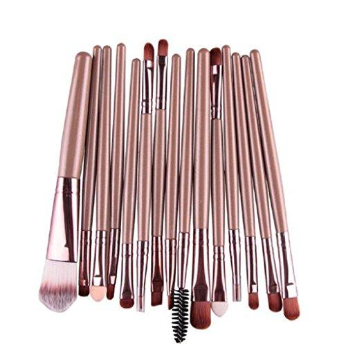 Vovotrade 15 pcs / Sets Eye Shadow Foundation Brosse à Lèvres Brosse Maquillage Brosses Outil Or