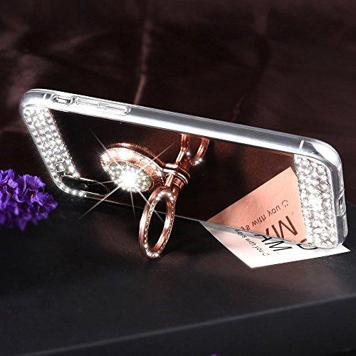 EUWLY Custodia iPhone X, EUWLY Brillante Diamante Specchio Silicone Custodia per iPhone X con Rotazione Grip Ring Kickstand Custodia Cover Shock-Absorption Morbido Gel TPU Bumper Coperture Anti-Scratc Specchio Oro Rosa