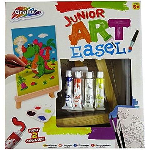 Júnior Caballete de Arte, Paquete de Pintura - Caballete de Madera, Pinturas Acrílicas, Paleta, Pinceles, Tela Estampada Grandes y