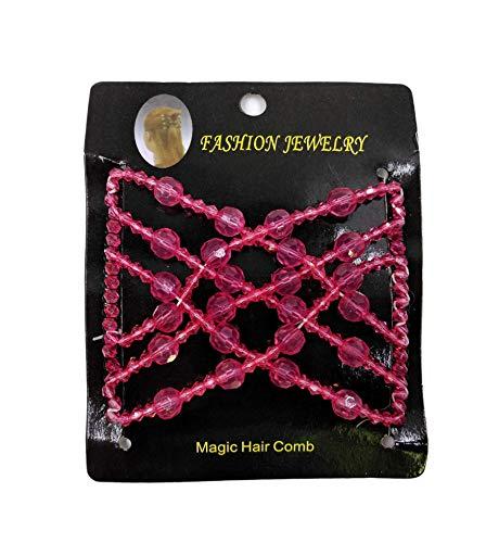 Kalttoy Magie Haar Kamm EZ Perlen Doppel Stretchy Elegante Schmuck Frauen Clips Frisur Mutter der Geschenk (Pink)