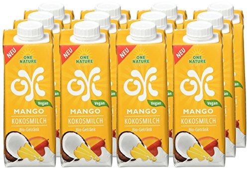 One Nature Organic, Bio-Kokosmilch Drink, Mango,  laktosefrei, vegan, als Milchalternative, ohne Zuckerzusatz, aus frischen Zutaten, ohne Zusätze und Bindemittel, 12 x 250ml im Tetra Pak