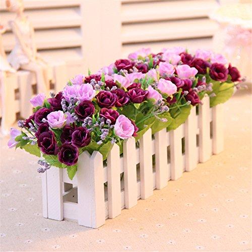 Fiori artificiali fiori di seta recinzioni fiore di emulazione xmas fiori finti tavolo da pranzo scrivania soggiorno camera da letto con balcone home decor wedding amante regali di natale,rosa viola mesmj