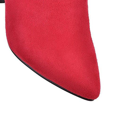 VogueZone009 Donna Cerniera Tacco Alto Puro Bassa Altezza Stivali Rosso