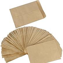 100pcs(13x9cm) Bolsitas Bolsas Papel Kraft Pequeñas Estraza Marrón para Semillas Híbridas de Maíz Saco de Granja Caramelos Regalos