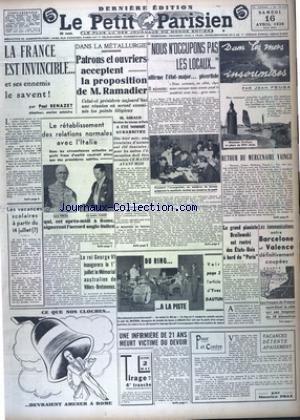 PETIT PARISIEN DERNIERE (LE) [No 22326] du 16/04/1938