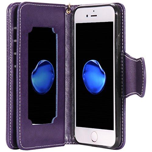 iPhone 7 Hülle grün Cozy Hut® PU Leder Wallet Case Folio Ledertasche Handyhülle Case für Apple iPhone 7 (4.7 zoll) mit Magnetverschluss [Trageschlaufe Cover] Flip Bookstyle Wallet Ständer funktion Etu lila