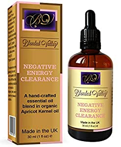 Negative Energy Clearance Oil - For Aromatherapy Diffuser or Burner. Peppermint, Ginger, Sage, Clove Essential Oils in Apricot Kernel Oil. Use During Aura or House Cleansing to Attract Positive Energy