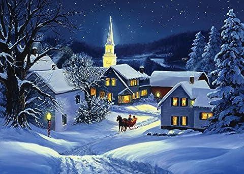 Boîte de Cartes de Noël Église Steeple, 15 Cartes et 16 Enveloppes de Feuille d'Or, en anglais