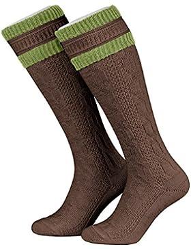 Tobeni 1 Paar Herren Trachten Strümpfe Kniestrümpfe Socken lang mit Umschlag Farbe Braun-Gras Grösse 39-42
