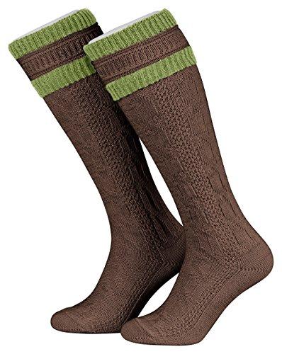 Tobeni 1 Paar Herren Trachtensocken Trachtenstrümpfe Kniestrümpfe Wolle lang mit Umschlag Grösse 45-46 Farbe Braun-Gras