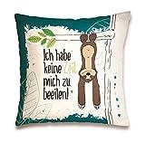 """Nici 42168 Faultier Baumwollkissen """"Ich Habe Keine Zeit, Mich zu beeilen"""", 37 x 37 cm"""