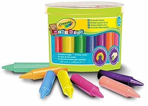 Crayola Mini Kids - Loisir Créatif - 24 Maxi Crayons À La Cire Boîte Plastique - Mega Crayon