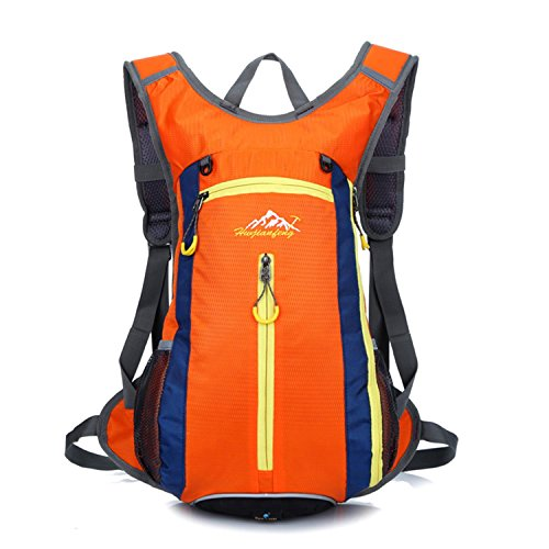 HWJF Reiten einer Fahrradtasche Outdoor Reittasche Wasser Tasche Männer und Frauen Schultern Bergsteigen Rucksack Orange
