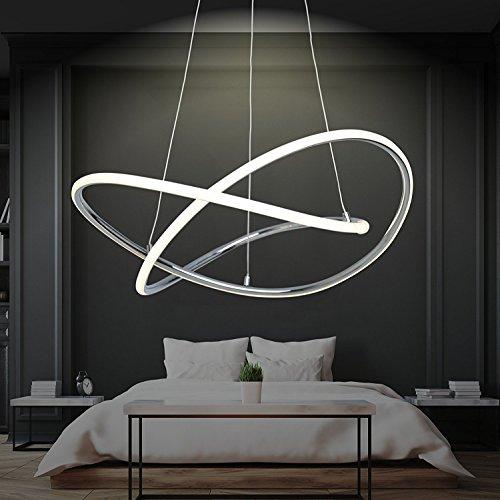 LED Pendelleuchte Dimmbar | Warmweiß | Ø 60cm | Höhenverstellbar | Ringe | Küchen Hängelampe | Wohnzimmer Designleuchte | Deckenlampe Schlafzimmer