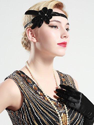 BABEYOND 1920s Stirnband Damen 20er Jahre Stil Haarband Gatsby Kostüm Accessoires (Schwarz) - 5