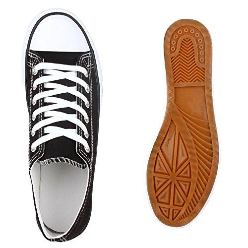Damen Sneakers Low-Top Basic Turnschuhe Freizeit Schuhe Schwarz