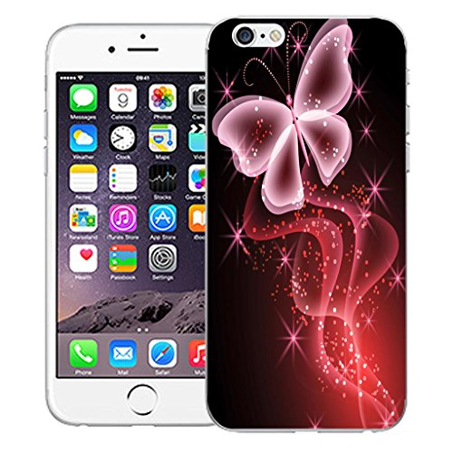 "Mobile Case Mate iPhone 6 4.7"" inch clip on Dur Coque couverture case cover Pare-chocs - Rose aries Motif pink butterfly sparkle"