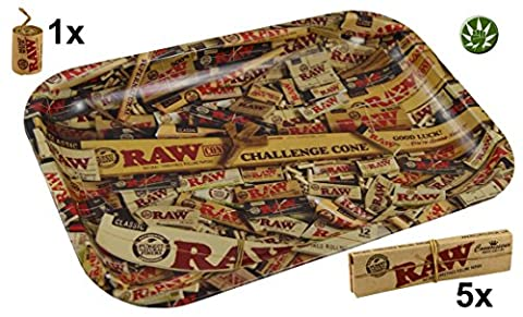 Set Raw KS Rolling Tray Mix Small + 5x RAW Classic Connoisseur Papers inkl Tips + 3m Hemp Wick + Fight 4 Legal Ansteckpin Button
