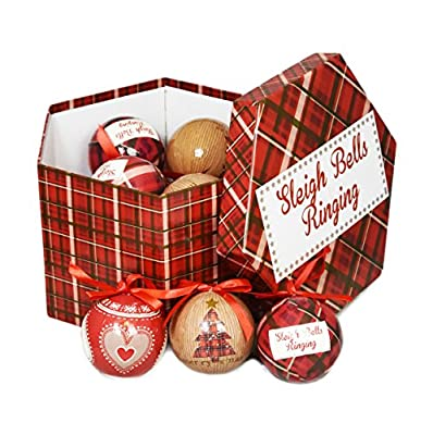 Set of 14 Traditional Decoupage Santa Christmas Tartan Baubles Balls Xmas Tree Decoration