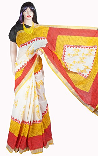 Indian Beauty Boutique Traditional Ethnic Women's Girl's Ladies Kerala Cotton Transparent Desigen Saree Sarees Handloom Work South Indian Saree with Maching Blouse Piece Free Size Saree
