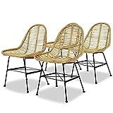 FZYHFA silla de comedor 4pcs asiento ratán natural + patas en hierro forjado y mimbre Natural
