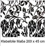 Klebefolie 200x45cm Print Ornament Schwarz Dekofolie Selbstklebefolie Möbelfolie