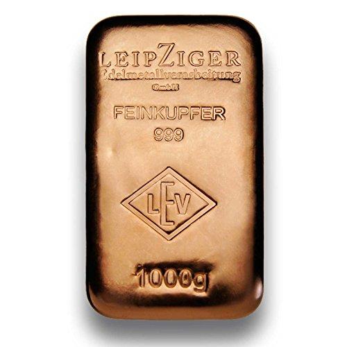Preisvergleich Produktbild Kupferbarren 1000g (1kg) gegossen - 999.9 Feinkupfer - Made in Germany