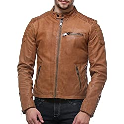 Bareskin Beige Colour Genuine Leather Slim-fit Moto Jacket for Men