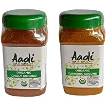 Aadi Organics All Organics Bundle: Indian Turmeric and Chili Powder - 6oz / 170g Each - Cooking Spices - Non-GMO, No MSG or Salt