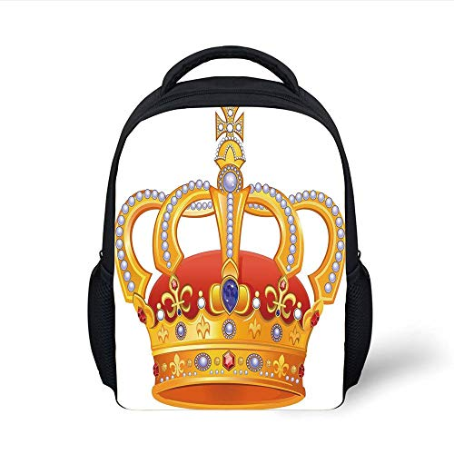 Kids School Backpack King,Royal Crown with Gem Like Image Symbol of Imperial Majestic Print,Red White Blue and Marigold Plain Bookbag Travel Daypack -